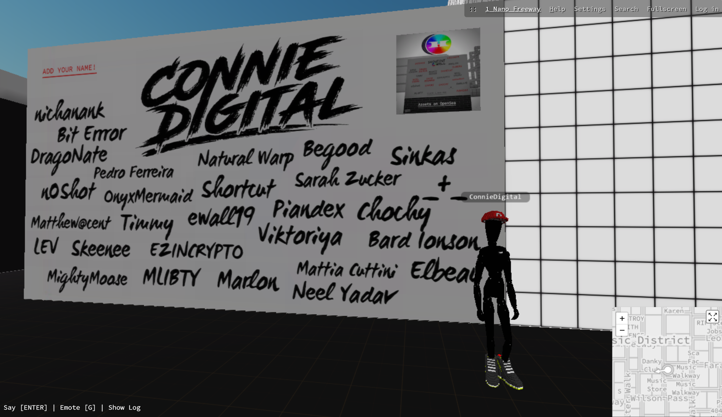Danky Club_Cryptovoxels_Connie Digital_Shoutout Wall