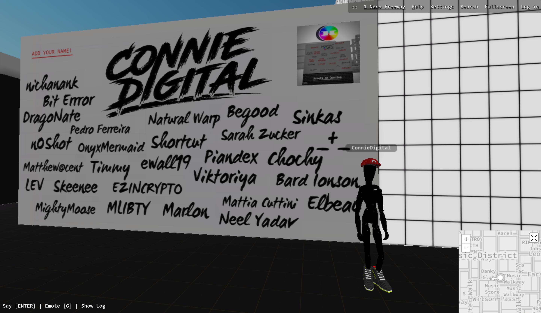 Danky Club_Cryptovoxels_Connie Digital_Shoutout Wall