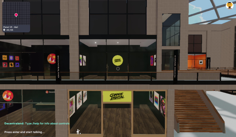 Connie Digital Decentraland Planet VR Mall