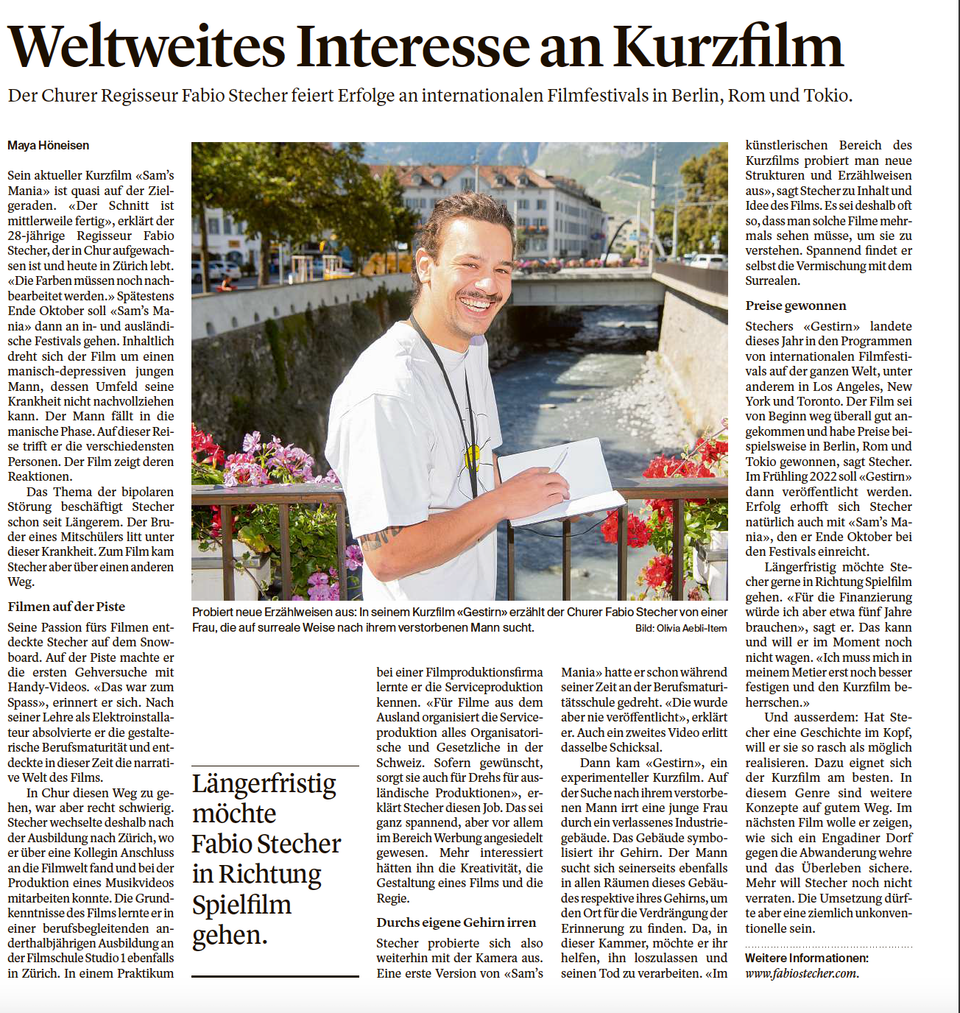 """Weltweites Interesse an Kurzfilm - I've being interviewed by the Swiss newspaper """"Südostschweiz""""."""