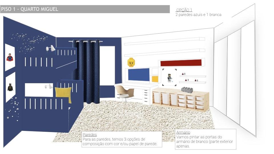 Projeto de decoração Casa Familiar Cascais - Vista de maquetização global do espaço para projecto de design d interiores quarto de rapaz