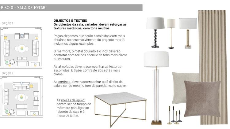 Projeto de decoração Casa Familiar Cascais - Escolha de objectos e têxteis para uma sala de acordo com o estilo de decoração