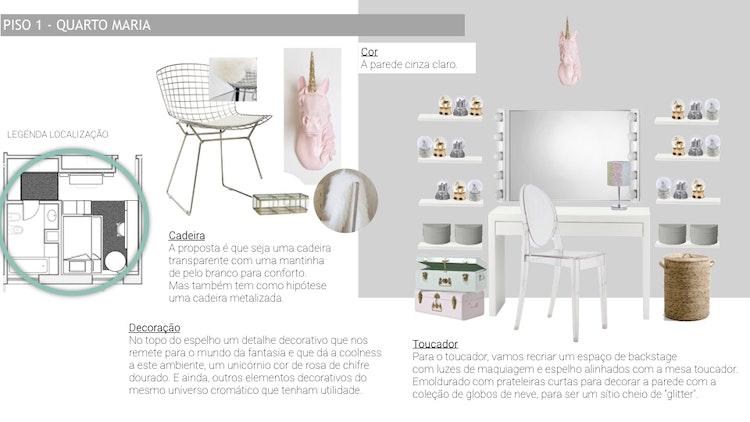 Projeto de decoração Casa Familiar Cascais - Unicórnio cor-de-rosa para decoração junto a toucador para quarto de menina adolescente