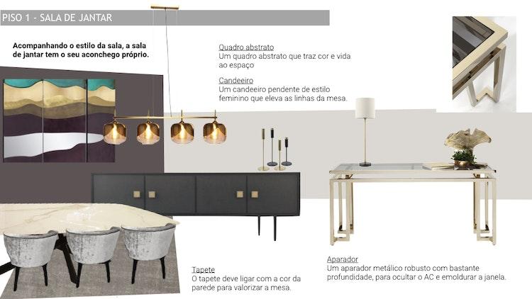 Projeto de decoração Casa Familiar Cascais - Mood board de decoração para sala de jantar