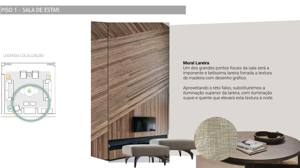 Projeto de decoração Casa Familiar Cascais - Decoração de lareira com textura vertical luxuosa  com tons pasteis e naturais