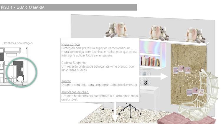 Projeto de decoração Casa Familiar Cascais - detalhes femininos para quarto com área criativa  de luzes e fotografias instax