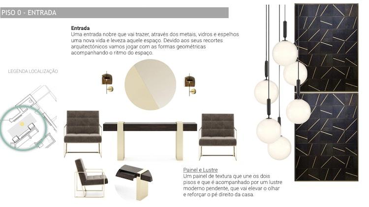 Projeto de decoração Casa Familiar Cascais - Entrada de casa plano e projeto com seleção de mobiliário design de interiores