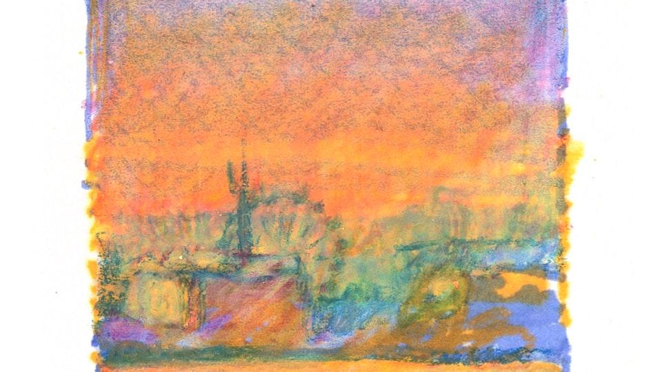 CITIES, LANDSCAPES, & ARCHITECTURE - Manila Skyline. (Marker & colored pencil)