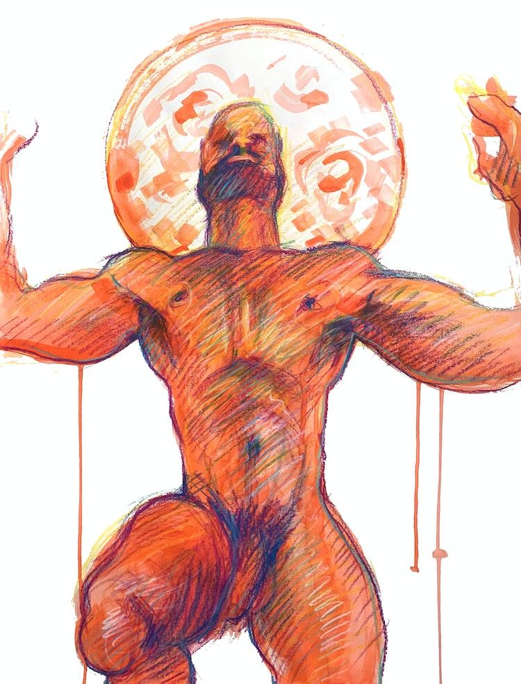 Figure Drawing - Jason Bascome 01 (Red)