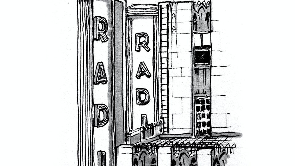 CITIES, LANDSCAPES, & ARCHITECTURE - Radio City Music Hall from 30 Rockefeller Plaza, NYC. (Pen & marker)