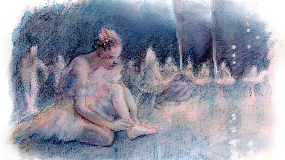 """THEATER, OPERA, & BALLET - Twisted Ankle #2. """"Sleeping Beauty"""" Rehearsal, Royal Opera House. (Watercolor, gouache, & colored pencil)"""