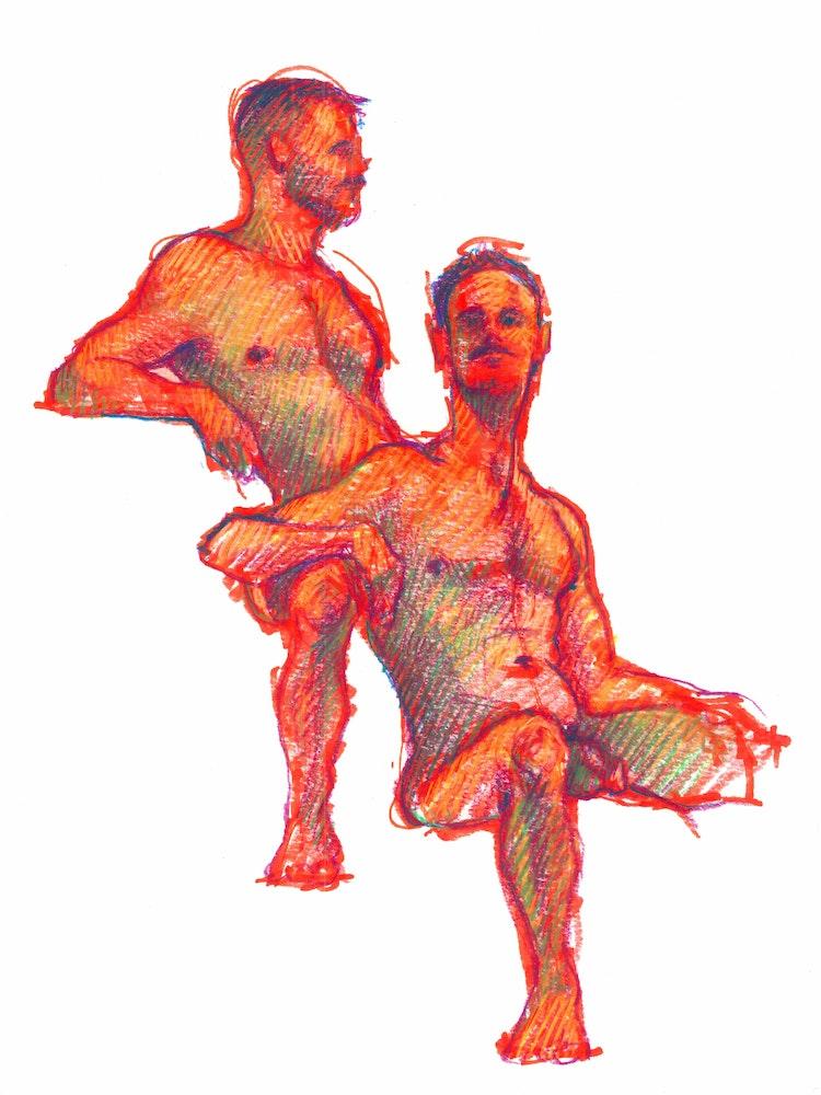 Figure Drawing - Jon & Mitch 01 (Red)