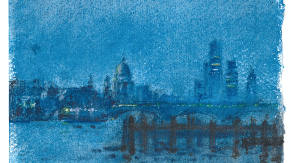 CITIES, LANDSCAPES, & ARCHITECTURE - St. Paul's and the City from South Bank, London. (Watercolor pencil on cotton rag paper)