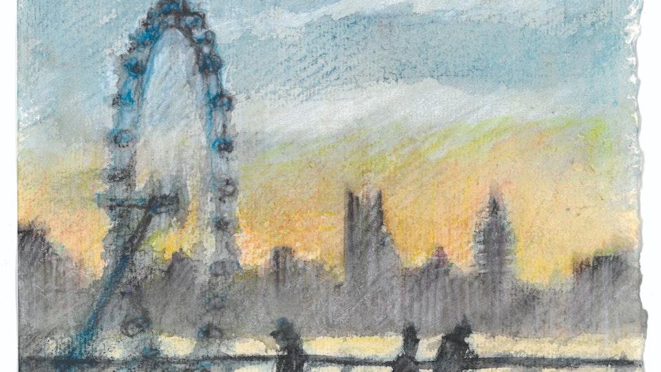 CITIES, LANDSCAPES, & ARCHITECTURE - Waterloo Bridge, London. (Watercolor pencil on cotton rag paper)