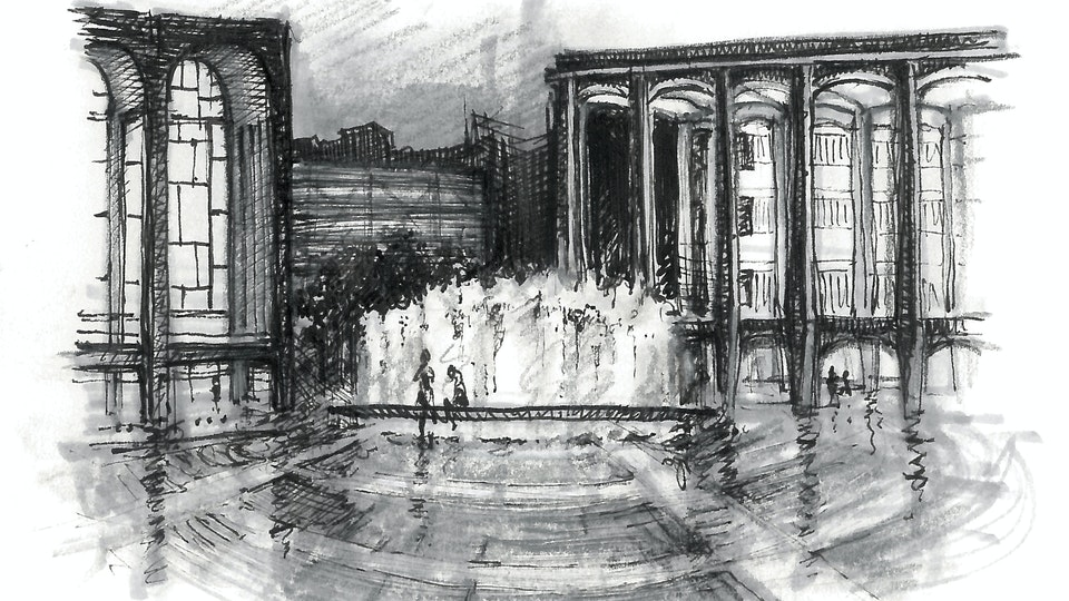 CITIES, LANDSCAPES, & ARCHITECTURE - Lincoln Center, Rainy Night, NYC. (Pen, marker, & colored pencil)