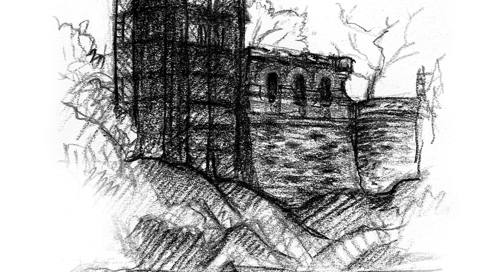 CITIES, LANDSCAPES, & ARCHITECTURE - Belvedere Castle, Closed for Renovation. NYC. (Colored pencil)