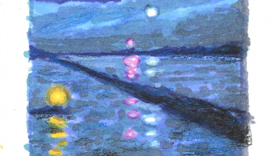 PROVINCETOWN - The Breakwater at Night. (Thumbnail sketch. Marker & colored pencil)
