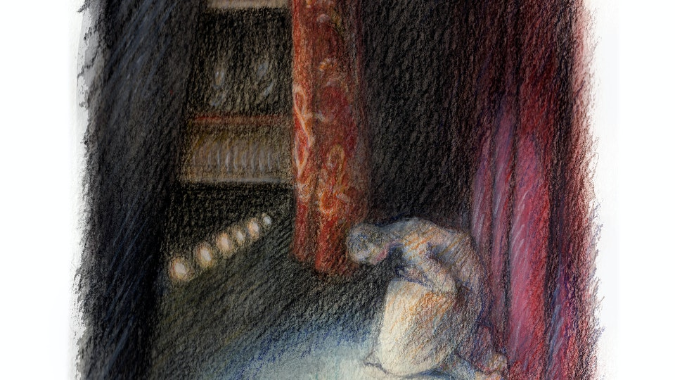"""THEATER, OPERA, & BALLET - Curtain Call for the Royal Ballet's """"Romeo & Juliet."""" (Watercolor, gouache, & colored pencil)"""