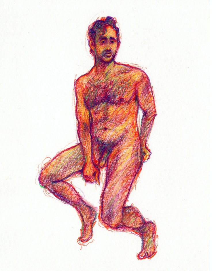 Figure Drawing - Michael Judson Berry 01 (Red)