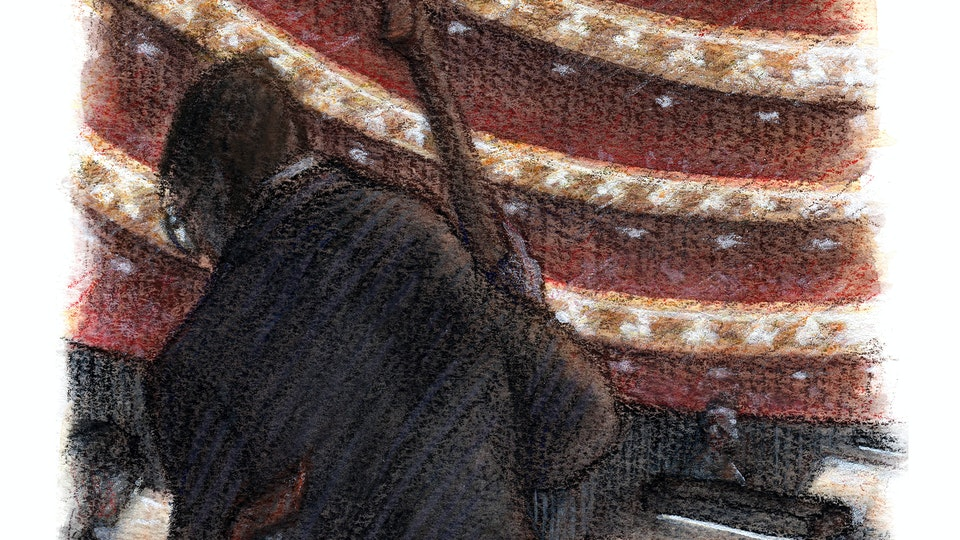 THEATER, OPERA, & BALLET - Orchestra pit, Royal Opera House. (Watercolor, gouache, & colored pencil)