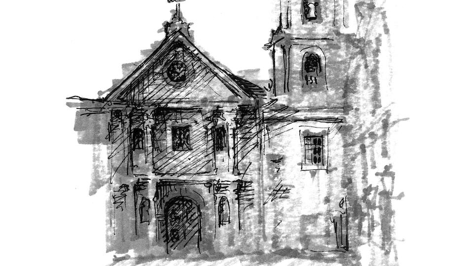 CITIES, LANDSCAPES, & ARCHITECTURE - San Augustin Church. Intramuros, Manila, Philippines. (Pen & marker)