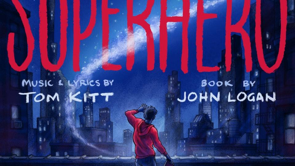 """POSTERS & COVER ART - Album cover art for """"Superhero,"""" a new musical by Tom Kitt & John Logan. Album on Sony Masterworks."""
