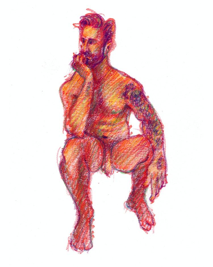 Figure Drawing - Joe 02 (Red)