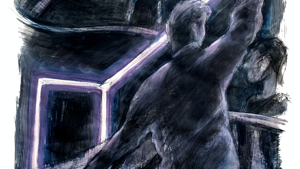 """THEATER, OPERA, & BALLET - Rehearsing the Neon Room. """"Angels In America"""" Broadway revival. (Wax pencil & acrylic)"""