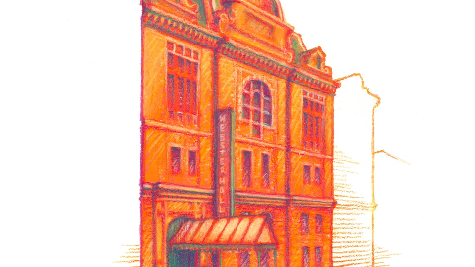 """NYC PRIDE - Webster Hall. NYC Pride Series. (Marker, colored pencil, & gouache, 8""""x8"""")"""