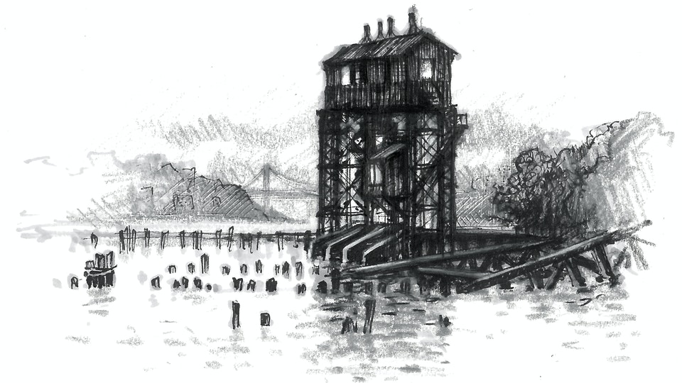 CITIES, LANDSCAPES, & ARCHITECTURE - Pier I Gantry, Hudson River, NYC. (Pen, marker, & colored pencil)
