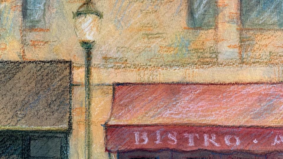 CITIES, LANDSCAPES, & ARCHITECTURE - The Parc Rittenhouse, Philadelphia. Detail. (Gouache & wax pastel)