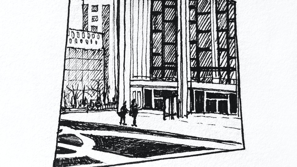 CITIES, LANDSCAPES, & ARCHITECTURE - Lincoln Center, NYC. (Micron pen)