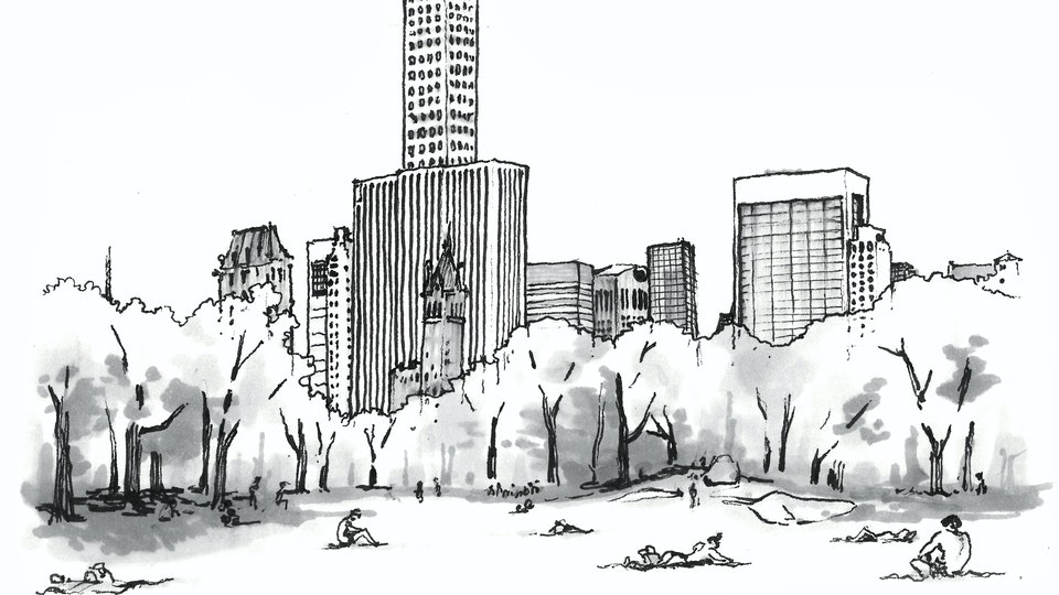 CITIES, LANDSCAPES, & ARCHITECTURE - Sheep Meadow, Central Park, NYC. (Pen & marker)