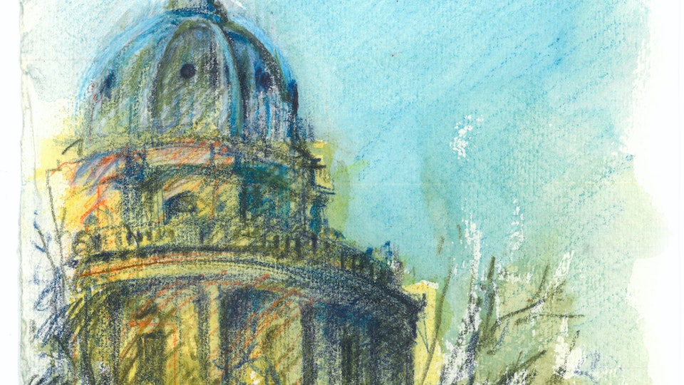 CITIES, LANDSCAPES, & ARCHITECTURE - Radcliffe Camera, Oxford. (Watercolor pencil on cotton rag paper)