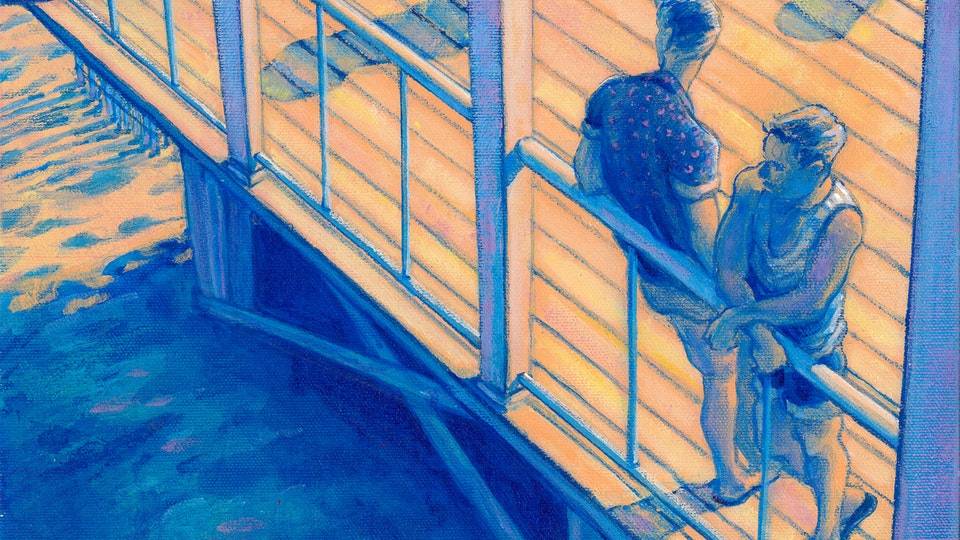 """PROVINCETOWN - Boatslip, End of Summer. (Acrylic on canvas, 12""""x12"""")"""