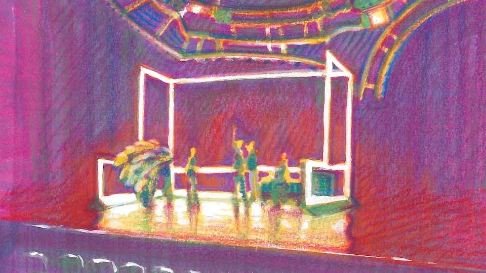 """THEATER, OPERA, & BALLET - Neon Room Rehearsal. """"Angels In America"""" Broadway revival. (Marker, colored pencil, & gouache)"""