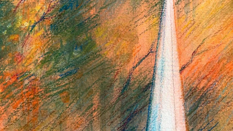 CITIES, LANDSCAPES, & ARCHITECTURE - Newtown, Connecticut. Detail. (Acrylic gouache & wax pastel)