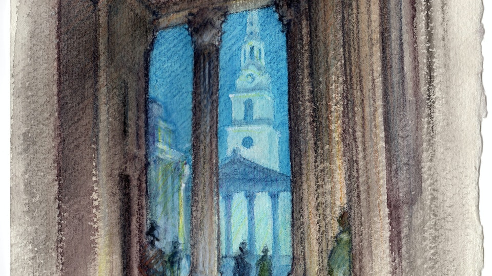 CITIES, LANDSCAPES, & ARCHITECTURE - St. Martin-in-the-Fields from the Portico of the National Gallery, London. (Watercolor pencil on cotton rag paper)