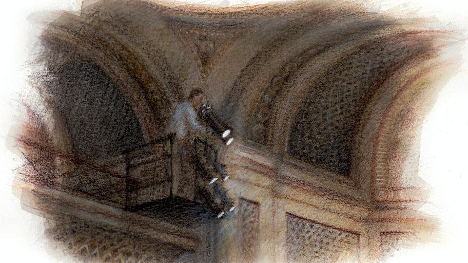 THEATER, OPERA, & BALLET - Lighting focus, Royal Opera House. (Watercolor, gouache, & colored pencil)