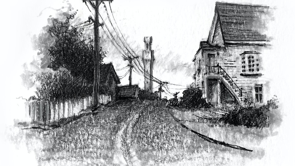 PROVINCETOWN - Bradford Street, Late Summer. (Ink, marker, & colored pencil)