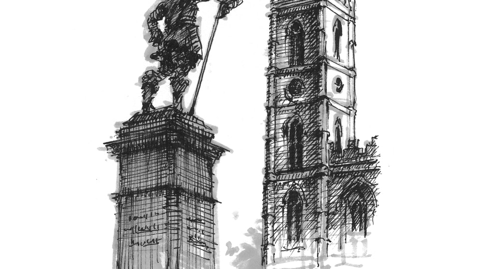 CITIES, LANDSCAPES, & ARCHITECTURE - Place d'Armes and Notre-Dame Basilica, Montreal. (Pen & marker)