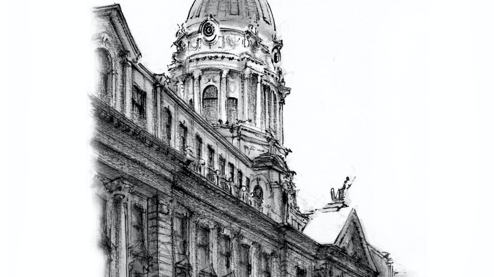CITIES, LANDSCAPES, & ARCHITECTURE - Old Police Headquarters at 240 Centre Street, NYC. (Pen, marker, & colored pencil)