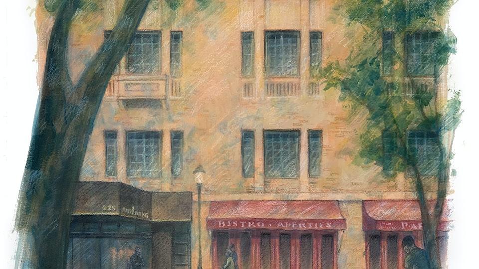 CITIES, LANDSCAPES, & ARCHITECTURE - The Parc Rittenhouse, Philadelphia. (Gouache & wax pastel)