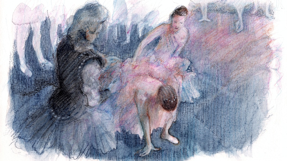 """THEATER, OPERA, & BALLET - Twisted Ankle #1. """"Sleeping Beauty"""" Rehearsal, Royal Opera House. (Watercolor, gouache, & colored pencil)"""