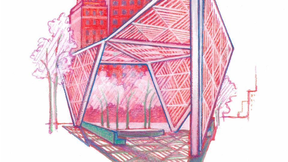"NYC PRIDE - New York City AIDS Memorial. NYC Pride Series. (Marker, colored pencil, & gouache, 8""x8"")"