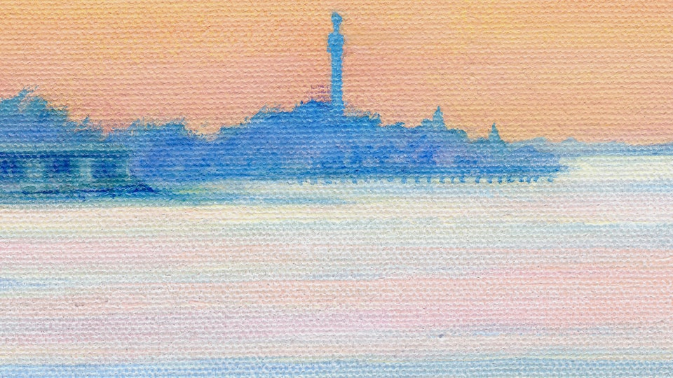 PROVINCETOWN - The Breakwater. Detail. (Acrylic on canvas)