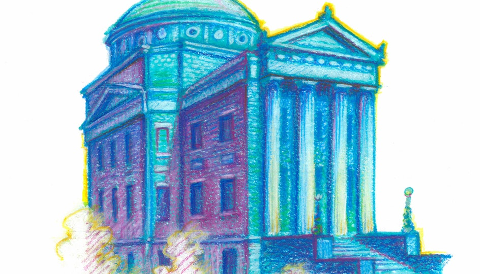 "NYC PRIDE - Earl Hall, Columbia University. NYC Pride Series. (Marker, colored pencil, & gouache, 8""x8"")"