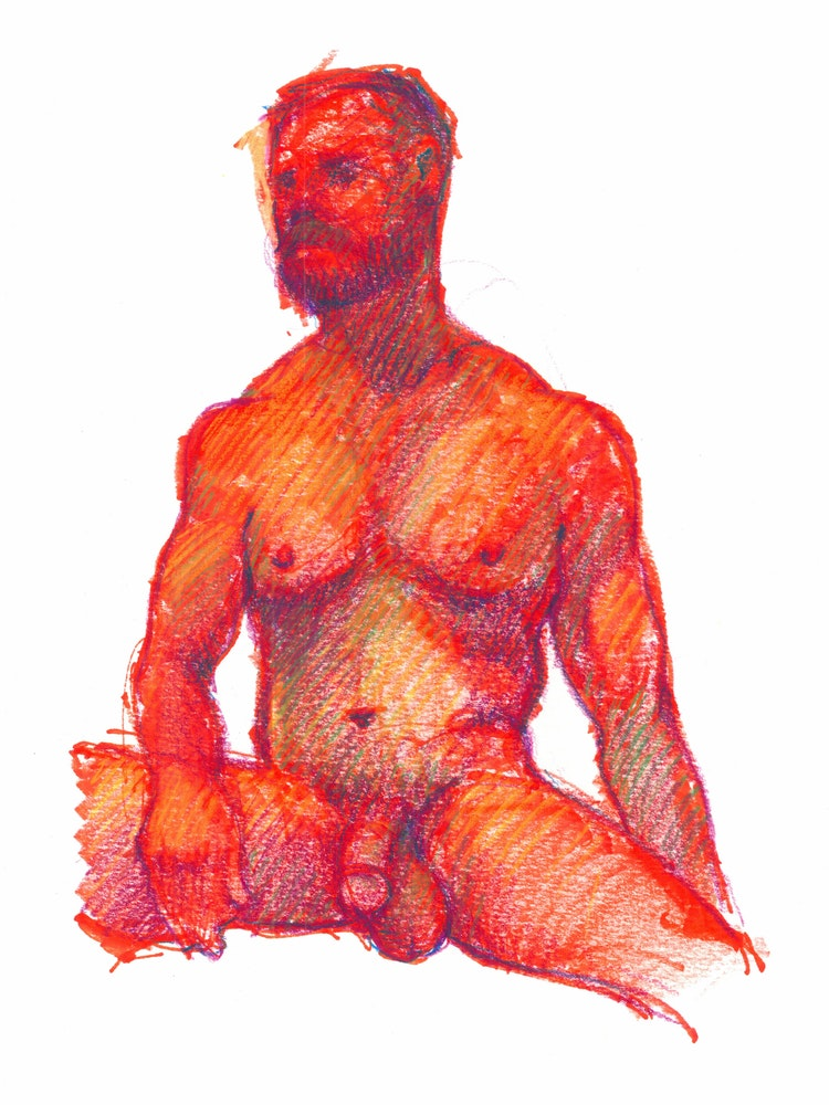 Figure Drawing - Mitch 01 (Red)
