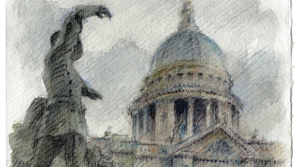 CITIES, LANDSCAPES, & ARCHITECTURE - St. Paul's Cathedral and the National Firefighters Memorial, London. (Watercolor pencil on cotton rag paper)