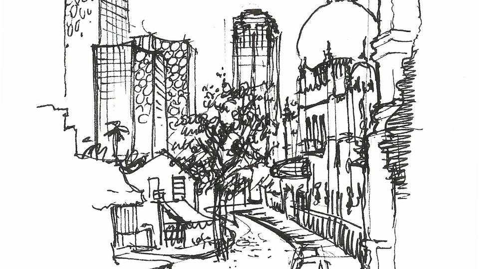 CITIES, LANDSCAPES, & ARCHITECTURE - Masjid Sultan, Singapore. (Micron pen)